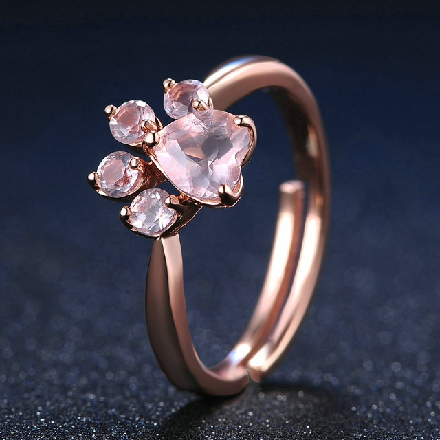 LAMOON Sterling Silver 925 Jewelry Rings For Women Pink Paw Rose Quartz Ring Rose Gold / White Gold Platd Gemstones Jewellery 4