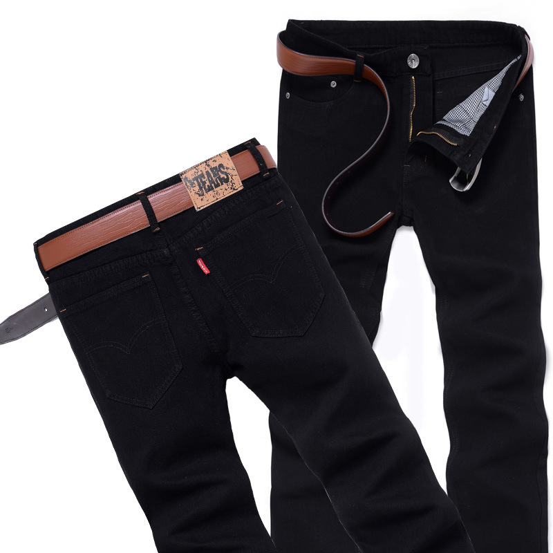 Men's, Black Straight-Cut Jeans Youth Popularity Special Offer Korean-style Men'S Wear Slim Fit Cowboy Trousers