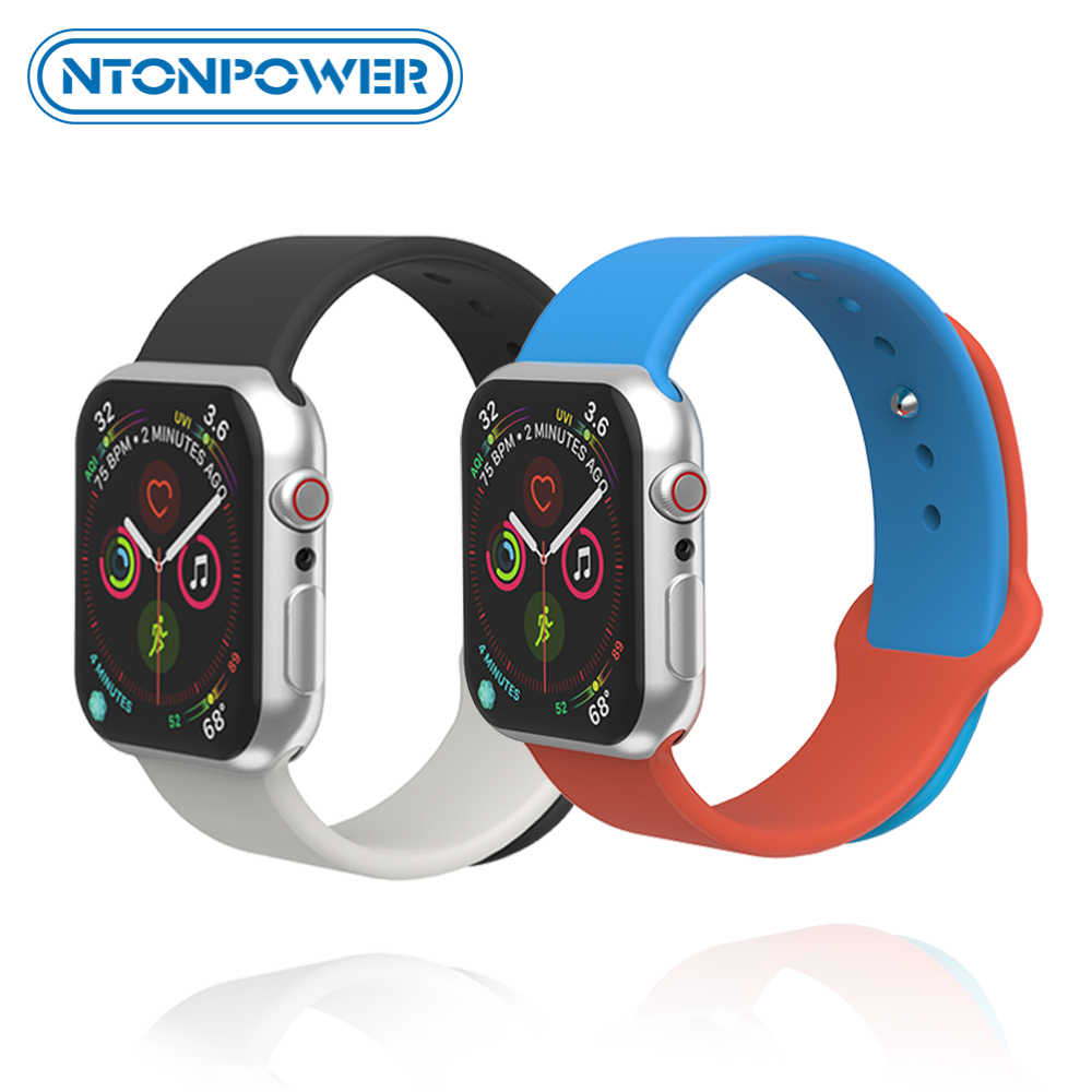 Ntonpower Lembut Silikon Olahraga Band untuk Apple Watch 4 3 2 1 38 Mm 40 Mm Watch Band Tali Karet aku Watch Series 4 3 2 1