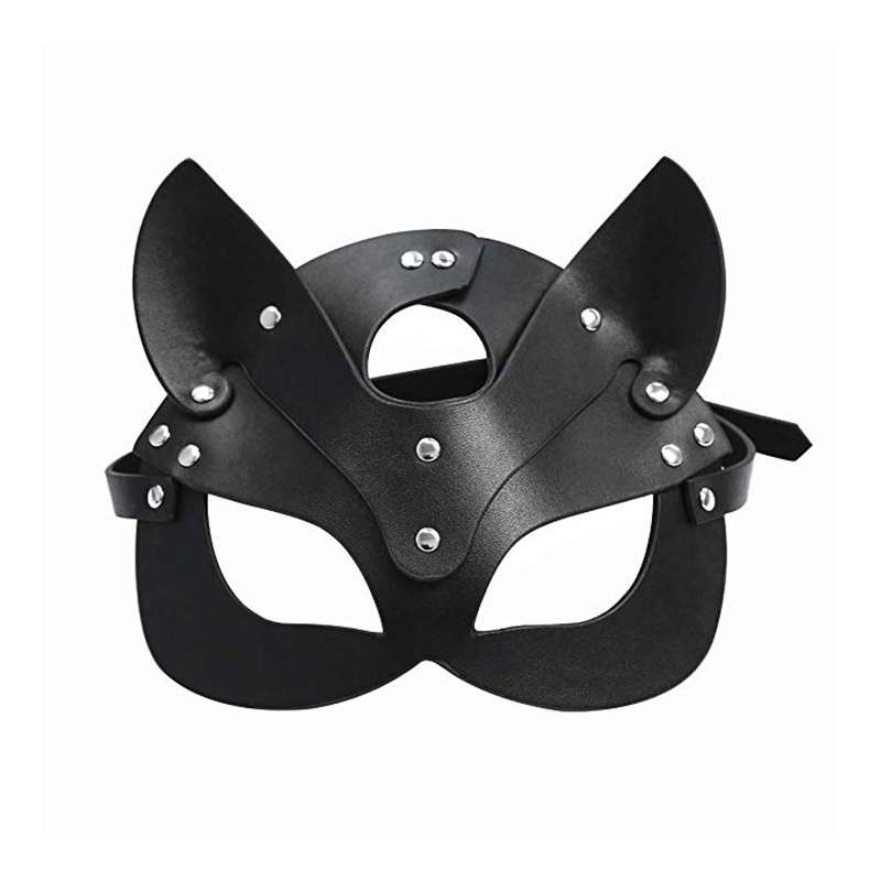 Fetish Head Mask Whip BDSM Bondage Restraints Faux Leather Cat Ear Halloween Mask Roleplay Sex Toy For Men Women Cosplay Games