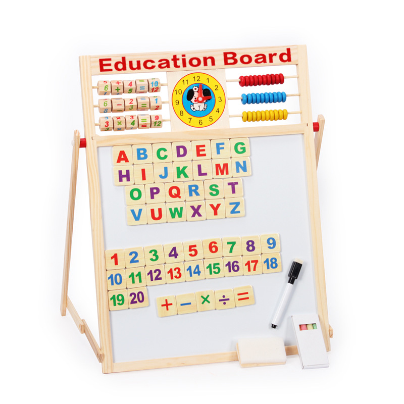 Little Emperor Multi-functional Magnetic Drawing Board Magnetic Double-Sided Wooden Learning Blackboard Children'S Educational T