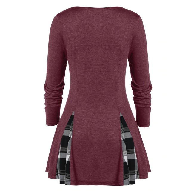 Womail Shirt Women Autumn Winter Long Sleeve Tartan Tunic Pullover Tops Irregular Plaid Print Pullover Blusas Feminina Plus Size 5