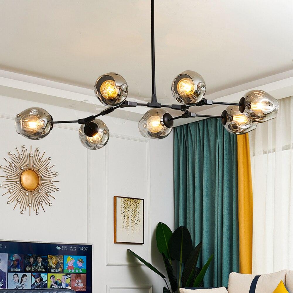 Modern LED Chandeliers Lighting for Living Room LOFT Villa Indoor Glass Ball Chandeliers Art Gallery Hotel Hall Light Fixtures
