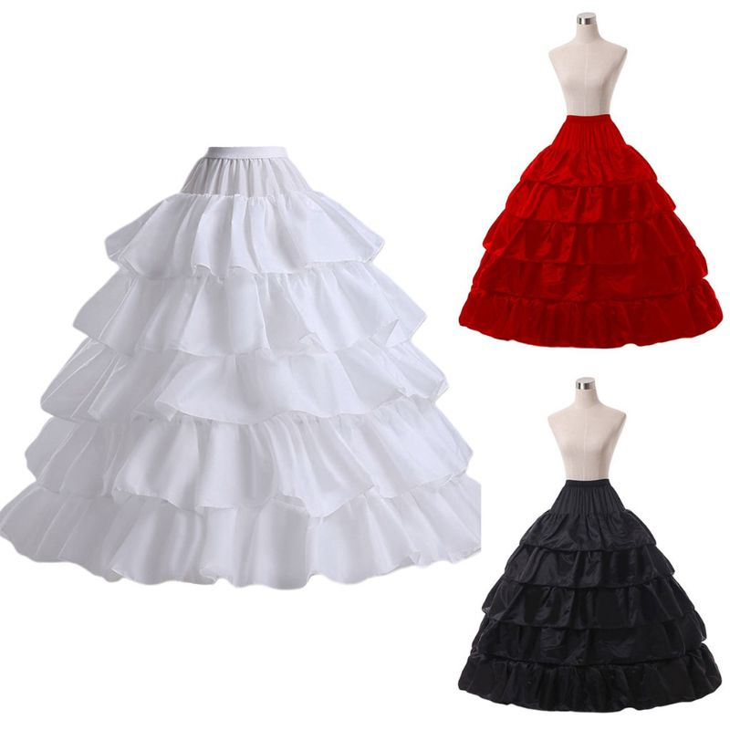 5-layer Lotus Leaf Skirt Bride Wedding Dress Petticoat Lolita Drawstring Adjustable High Waist Long Chemise