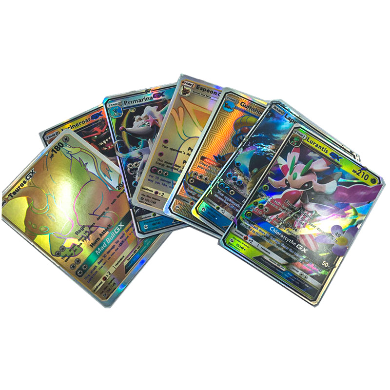 Takara Tomy Toys Hobbies Game Collection Cards Collectibles 100pcs Shining Card English Pokemon Trainer GX EX Cards