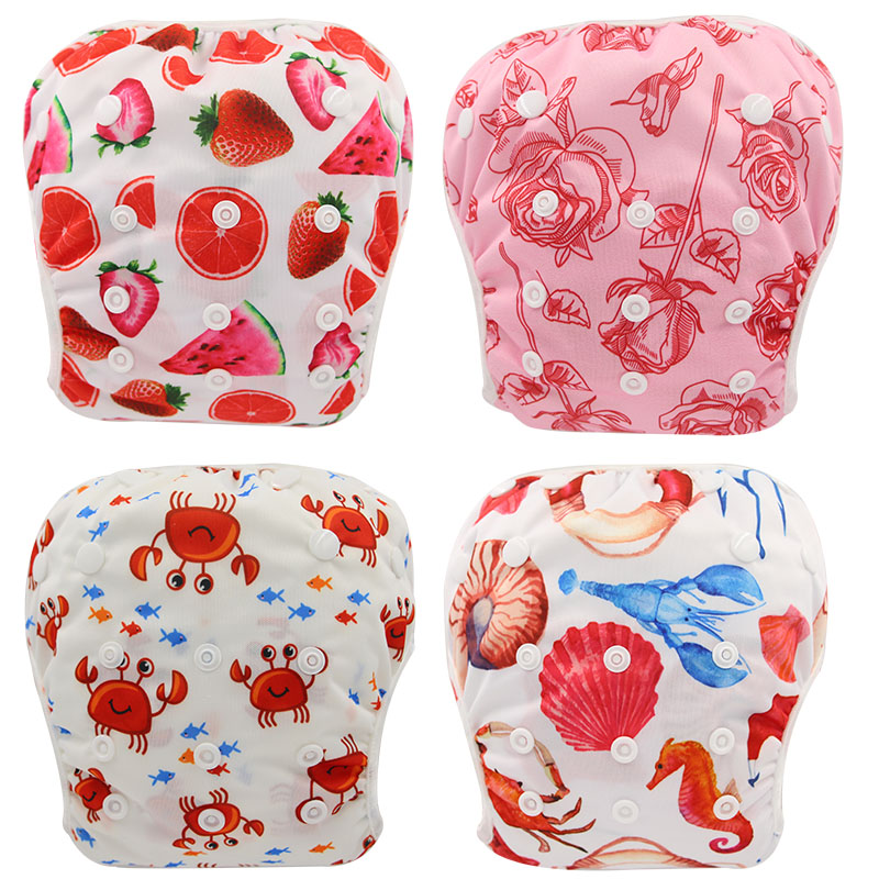 Ohbabyka Baby Swim Diapers Adjustable Cloth Diapers For Swimming Waterproof Pool Pant Baby Diaper Nappies Reusable Diapers Cover