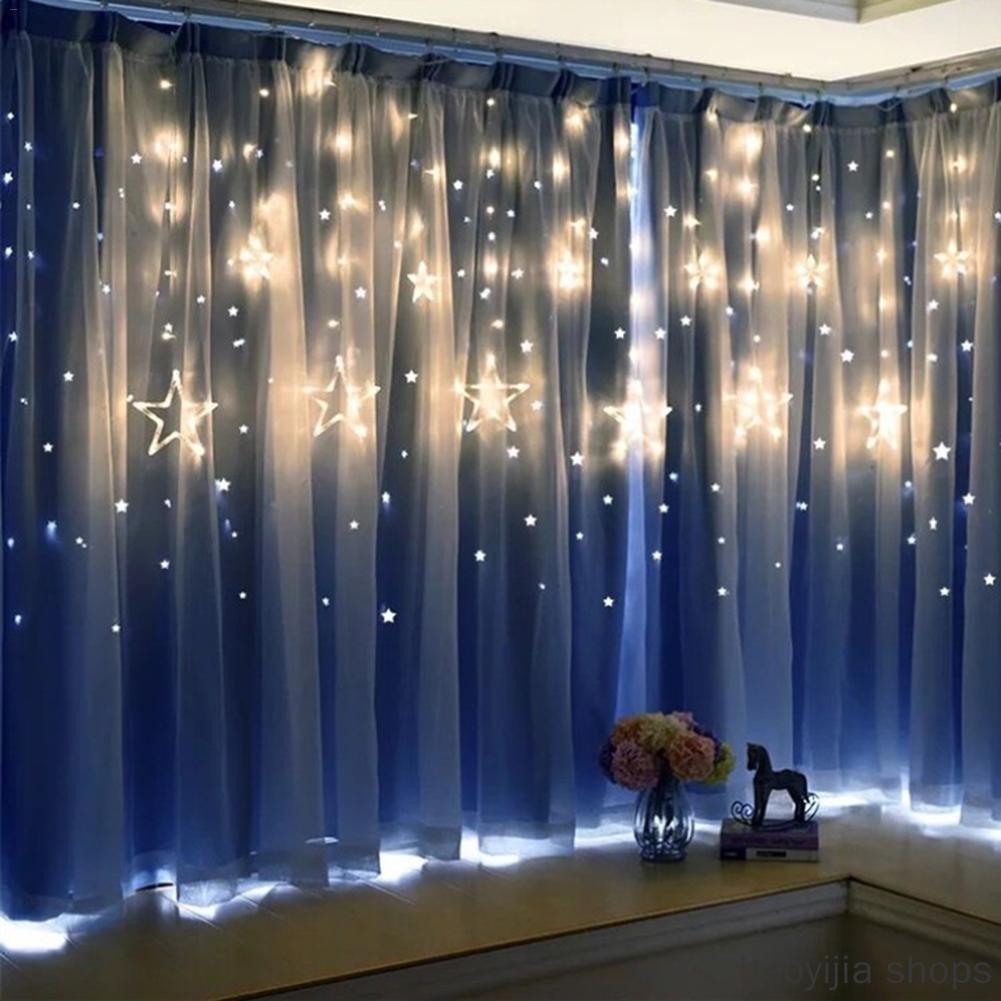 New Stars Wedding Birthday Lights Indoor Warm White AC 220V Garland Party Decoration 2.5M LED Lights Pentagram Curtain Lights