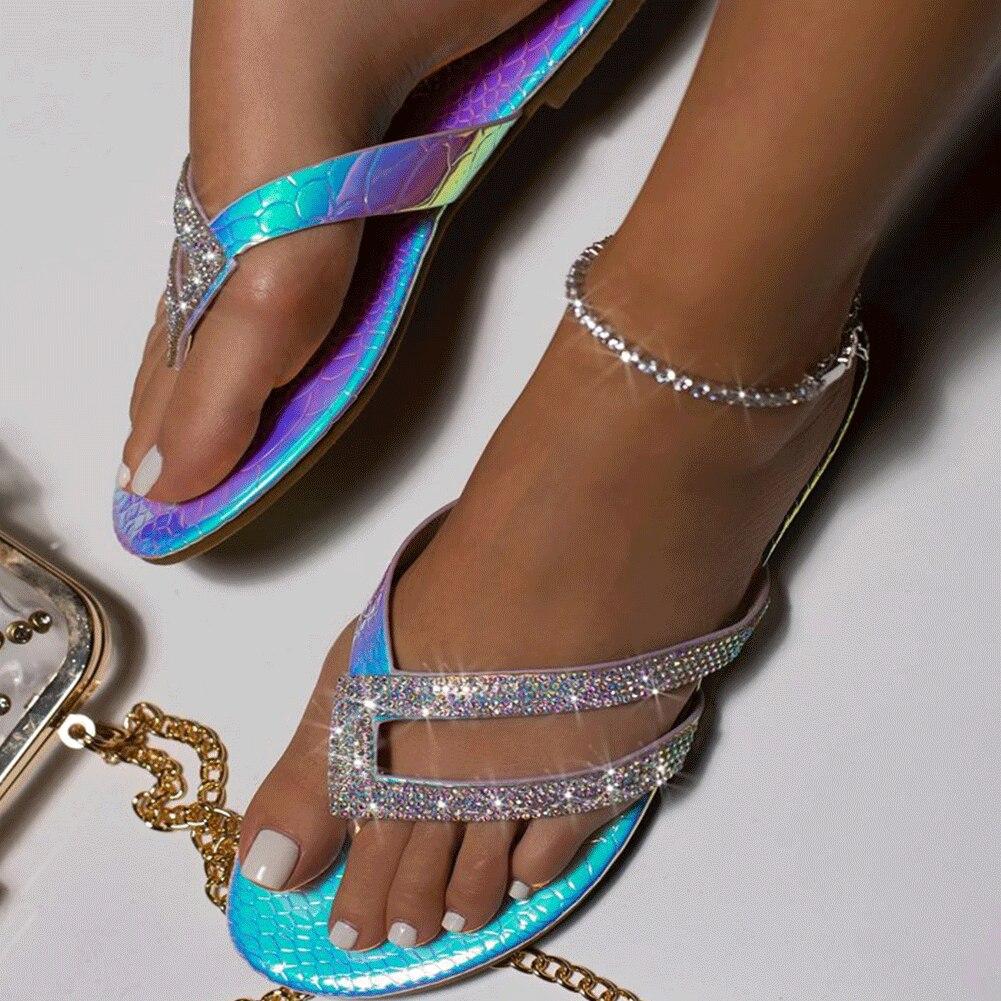 GIGIFOX Big Size 43 Flip Flops Flat Crystals Summer 2020 Women Shoes Fashion Slippers