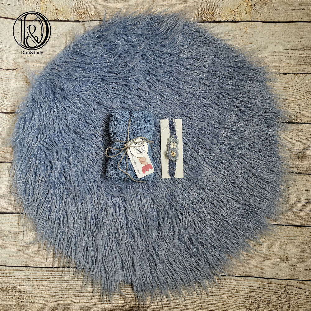 Don&Judy Newborn 3pcs/Set Sky Blue Round Fur Blanket with Matched Wrap and Headband  Newborn Photo Props Photography Accessories