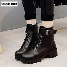 Autumn Winter Martin boots women's low lace with thick belt buckle short boot fashion women's shoes botas mujer black ankle boot(China)