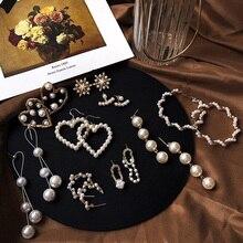 2020 Korean Fashion Pearl Earrings Women Cute Heart Tassel Geometric Round Stud Boho Jewelry Style Drop