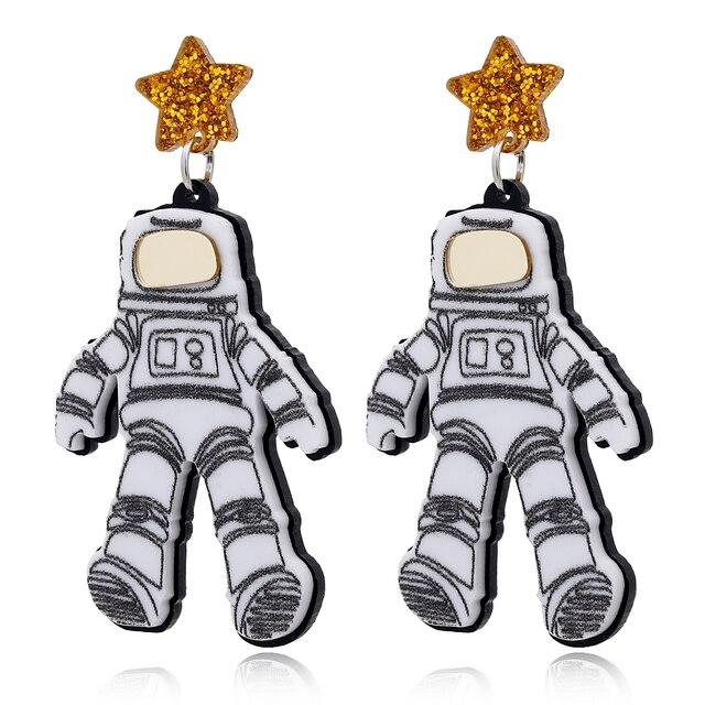 YAOLOGE New Punk Astronauts Drop Earrings For Women Retro Statement Metal Acrylic Fashion Funny Dangle Earring.jpg 640x640 - YAOLOGE New Punk Astronauts Drop Earrings For Women Retro Statement Metal Acrylic Fashion Funny Dangle Earring Jewelry For Party