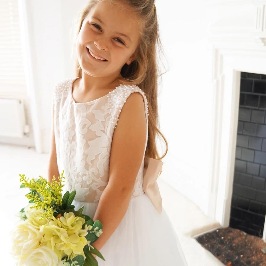 Vestidos De Comunion Flower Girl Dresses 2020 Tulle Appliques Communion Dresses Ball Gown Party Dress