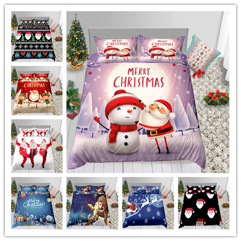 Celebrate Christmas Santa Claus And Christmas Tree Snowman 3D Printing Bedding Set  New Year Winter Holiday Gifts