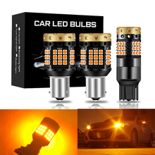 2pcs BA15S P21W BAU15S PY21W No Hyper Flash W21W WY21W 7440 7440NA LED Turn Signal Light Bulbs Canbus Error Free Car Lamp Amber
