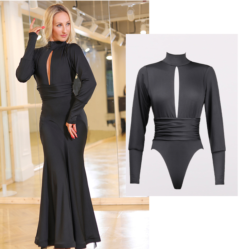 Sexy Backless Bodysuit Latin Dance Costumes Long Sleeve Black Shirts Ballroom Dancing Dress Women Latin  Samba Dress DQS2953