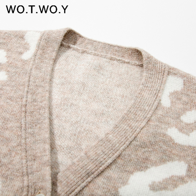 WOTWOY Autumn Winter V-Neck Knitted Cardigans Women Single Breasted Printed Loose Sweaters Female Casual Cardigans Soft Knitwear 3