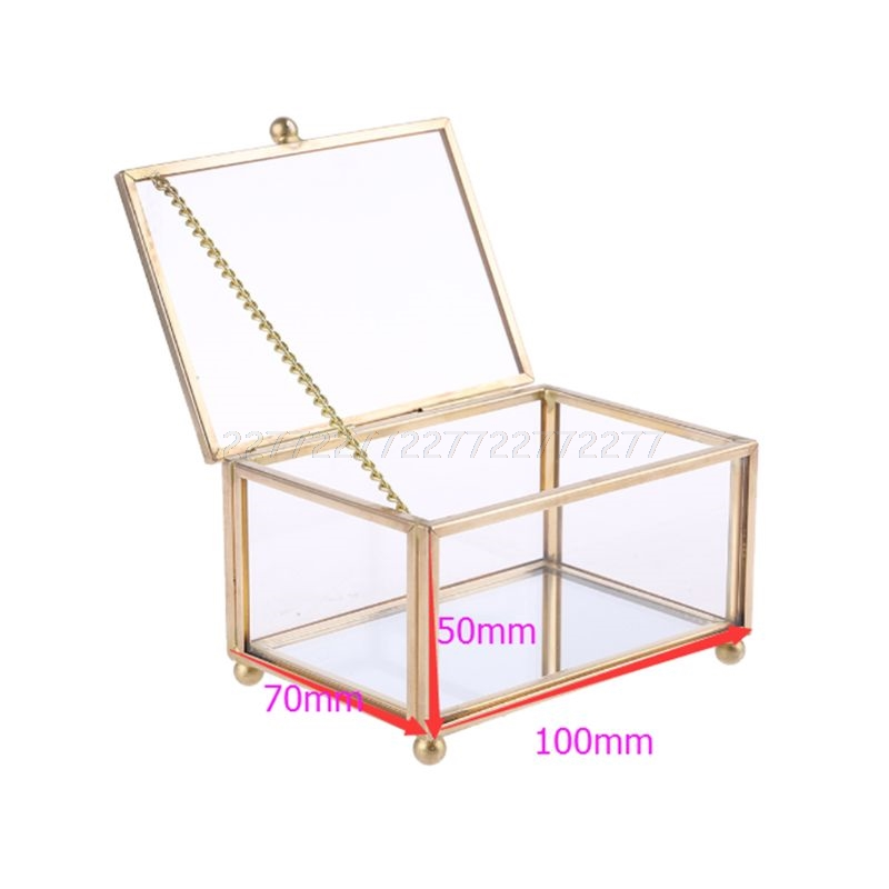 Rustic Wedding Ring Box Geometric Transparent Glass Jewelry Display Storage Hold J02 20 Dropship|Makeup Organizers| |  - title=
