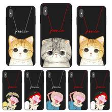 Cute Cat Personalized Custom DIY Name Black Soft TPU Silicone Phone Case Cover For iPhone 11 Pro X XR XS MAX 5 6 6S 7 8 Plus