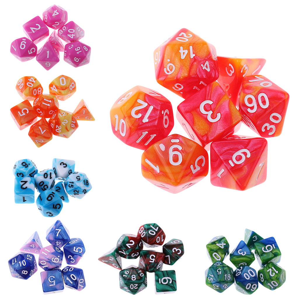 14Pcs Polyhedral Dice Die Acrylic for Dungeons & Dragons RPG MTG Casino Games Orange Blue