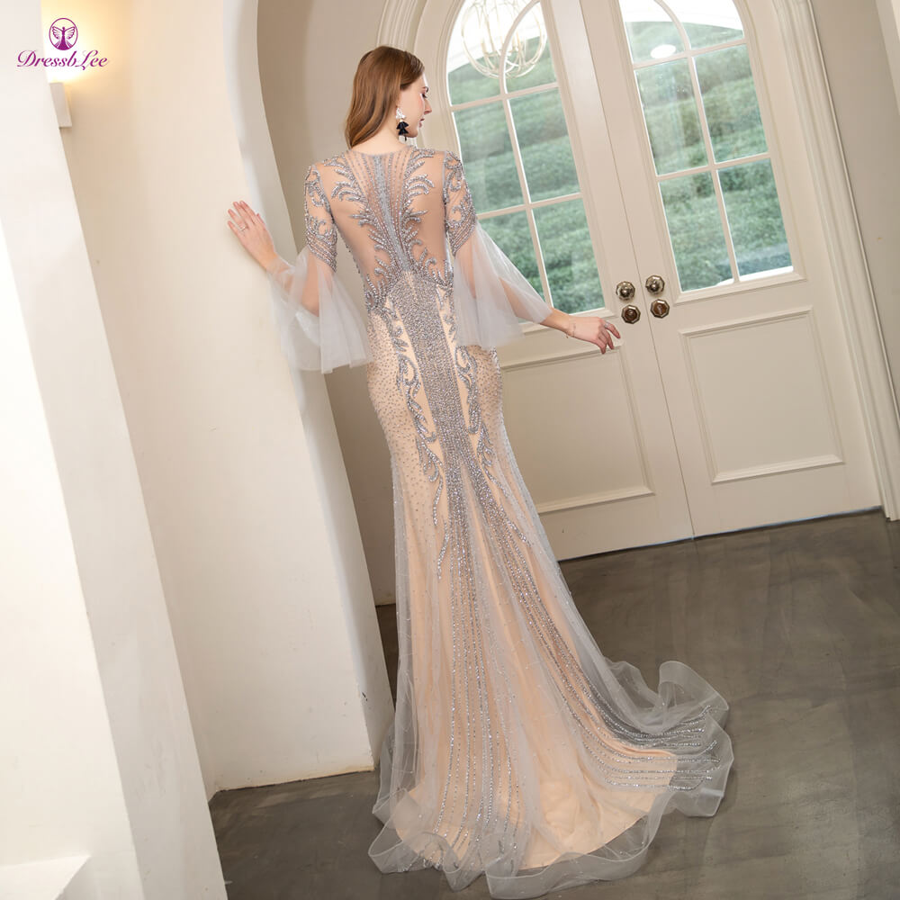 DressbLee 2020 New Shining Prom Dress Full Crystal Beaded Full Sleeves Dubai Style Prom Dresses Long Forma Party Gown