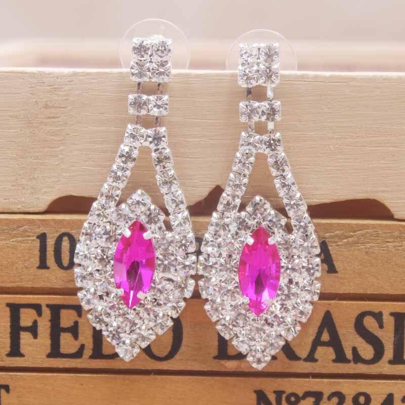New shiny hotpink earring silver wedding Zerong  rhinestone dangling Luxury jewelry drop earrings for women