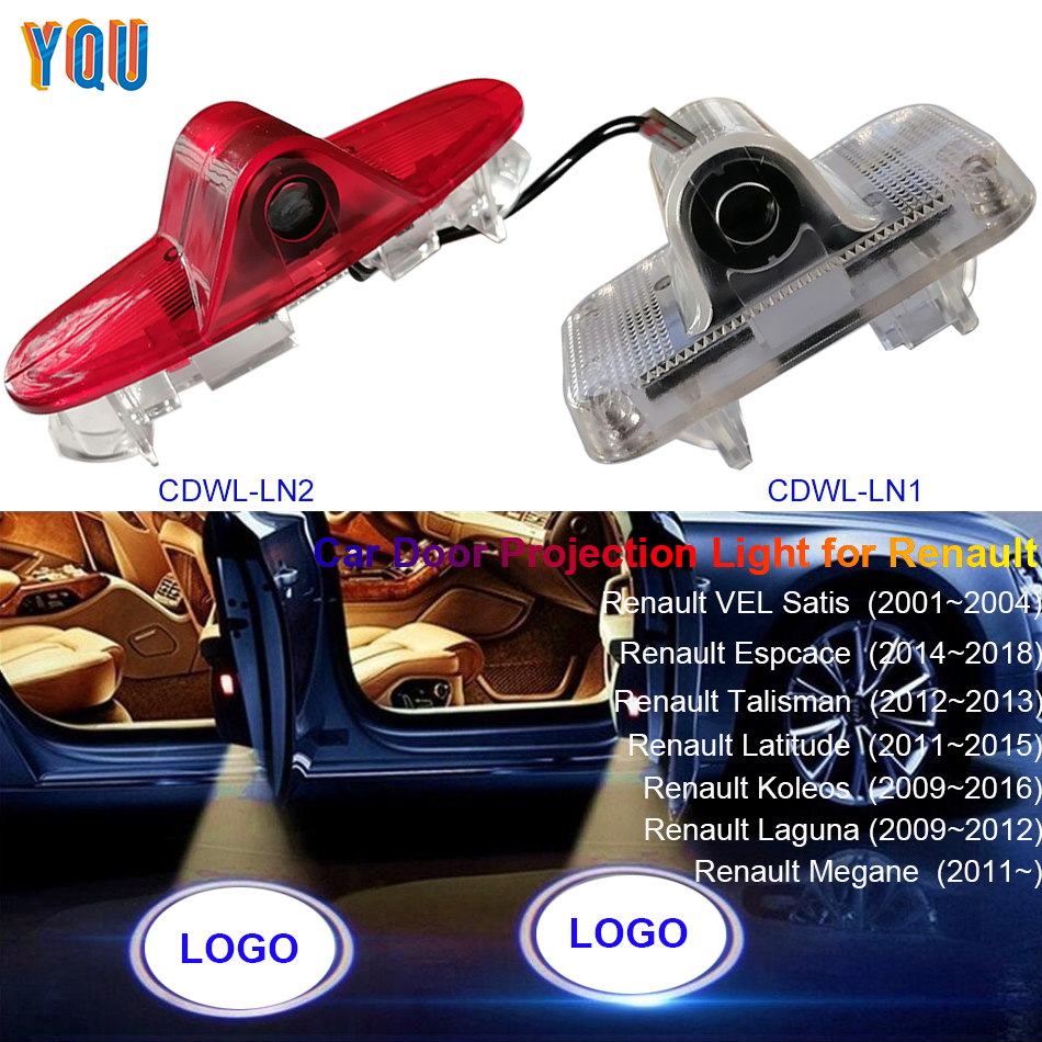 For Renault Megane 3 4 Laguna 2 Espace Koleos Koleos Latitude Talisman LED Car Door Projector Light Luces Para Auto Welcome Logo