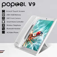 Poptel senza fili telefono intelligente 8 pollici 2g/16g bluetooth microtelefono del telefono cellulare android 8.1 video telefono senza fili tablet telefono