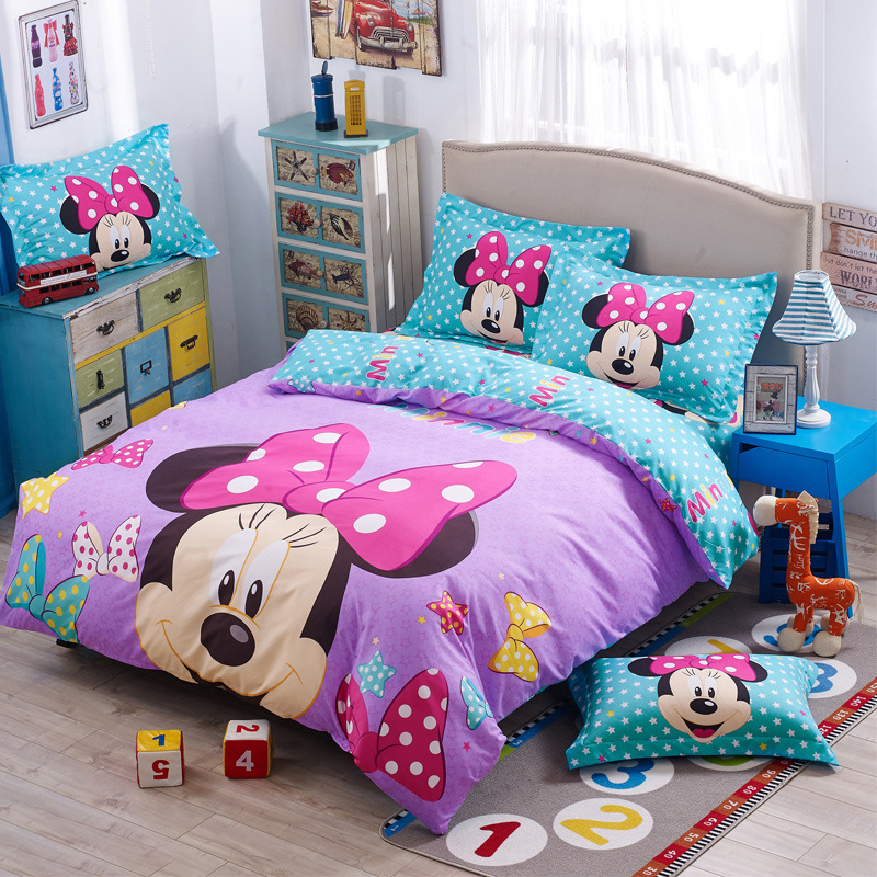 DISNEY Mickey Minnie Mouse Girls Bedding Set Cartoon Digital Printing Soft Pillowcase Duvet Cover Sets Childrens Bedding Set