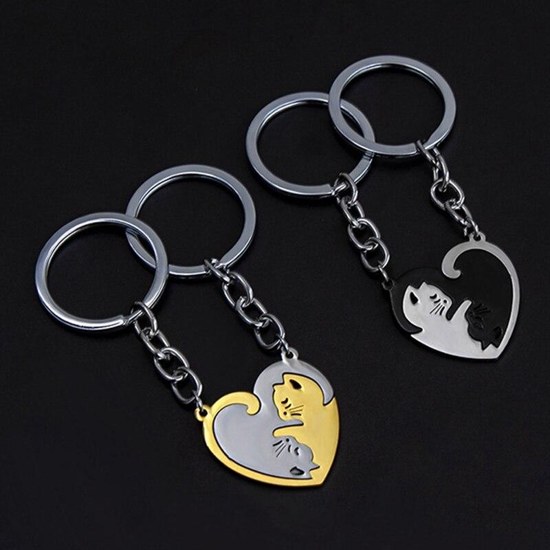 2 шт./компл. его соответствующие головоломки Инь Ян кошка брелки для пар из нержавеющей стали сердце кольцо для ключей BFF пара брелок ювелирн...
