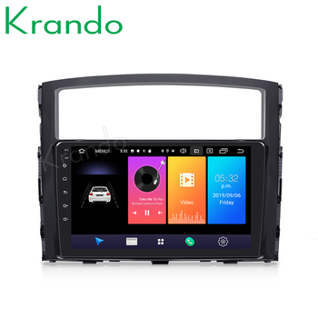 Krando Android 9.0 9 IPS Full touch car multimedia player for MITSUBISHI PAJERO V97 2006-2015 radio navigation gps No 2din DVD image