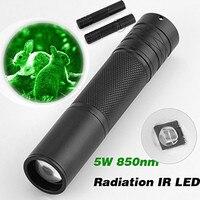 Linterna CR-23 LED infrarroja portátil de 5W y 850nm, linterna con zoom para visión nocturna, 18650 linternas para exteriores