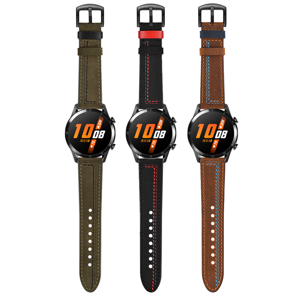 Leather WristBand For HUAWEI WATCH GT 2 46mm 42mm/GT Active/HONOR Magic Smartwatch Band Strap Bracelet Watchbands Black Buckle