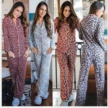 Пижама женская с леопардовым принтом Спортивная Домашняя одежда
