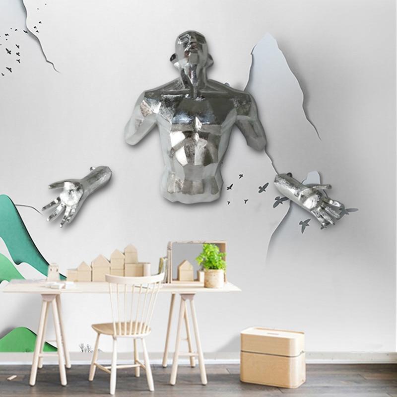 Nuevo personaje moderno 3D escultura Ángel hombre colgante de pared estatua artesanía decorativa para hogar Europea Retro figura de arte creativo Pintura de diamante ZOOYA, imágenes de mosaico de bordado de diamantes redondos, 5d pegatinas de pared, artesanías de mariposa, Ángel, Luna, regalos R285