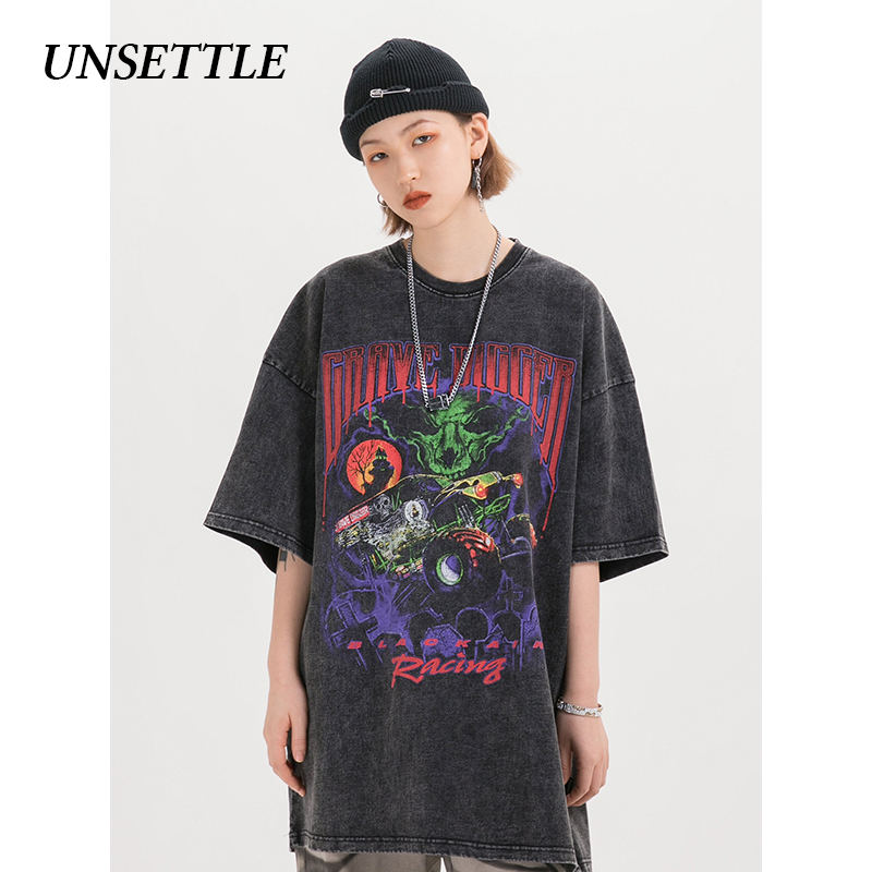 UNSETTLE Harajuku t shirts Oversized Summer Men/Women Hip Hop Fashion Gothic Print Tshirt Men Streetwear T-shirts Short Sleeve 3