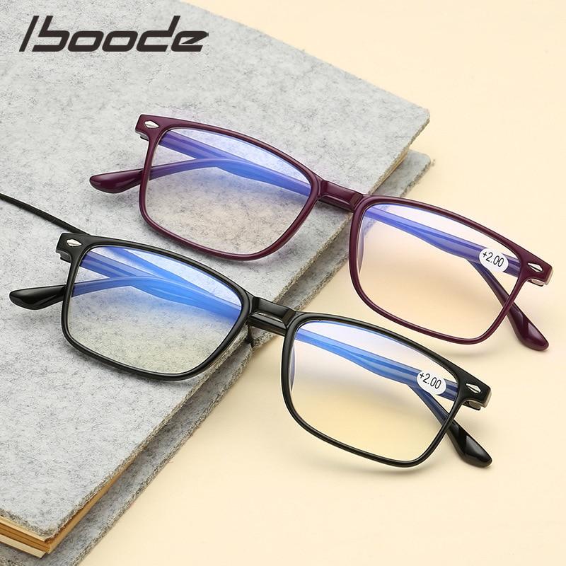 IBOODE TR90 Reading Glasses Women Men Square Presbyopic Eyeglasses Female Male Hyperopia Eyewear Unisex Diopter Spectacles