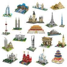 YZ mimari Taj Mahal kale Pisa Louvre müzesi kulesi Khalifa kulesi köprü Mini elmas yapı taşları oyuncak hiçbir kutu