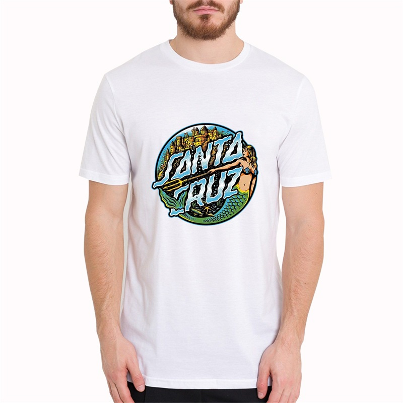Santa Cruz Marmeid Dot Skateboard Men   T     Shirts   Harajuku Summer Boyfriend Gift   Shirt   Fashion Top Short Sleeve Cool Male Clothes