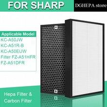 Для очиститель воздуха Sharp KC-A50JW KC-A51R-B KC-A50EUW hepa фильтром FZ-A51HFR Активизированный карбоновый фильтр FZ-A51DFR