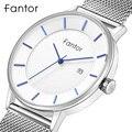 Мужские кварцевые наручные часы Fantor  классические минималистичные простые водонепроницаемые сетчатые Стальные наручные часы для мужчин