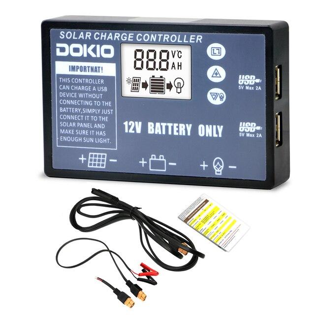DOKIO elastyczny składany panel słoneczny dedykowany kontroler słoneczny do akumulatora 12V USB kontroler słoneczny 10A/20A kontroler słoneczny