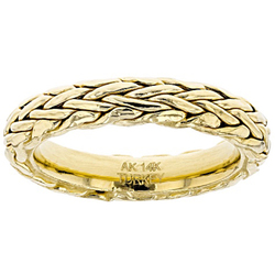 Fashion 14 K Yellow Gold Wheat Pattern Ring Simple Design Handmade Band Rings For Men Women Punk Party Cool Jewelry Gift J3Z180