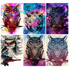 Huacan 5d Diamond Painting Kits Full Animal Embroidery Home Decoration Mosaic Owl Handmade Gift Diamond Art