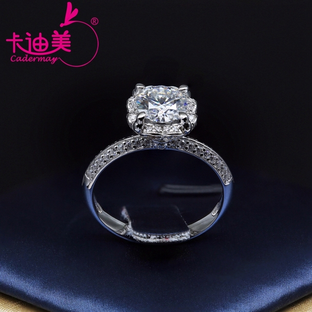 CADERMAY S925 Silver Jewelry 1CT Round Brilliant Cut Flower Style Moissanite Diamond Wedding Ring Band For Ladies Hot Sale 6