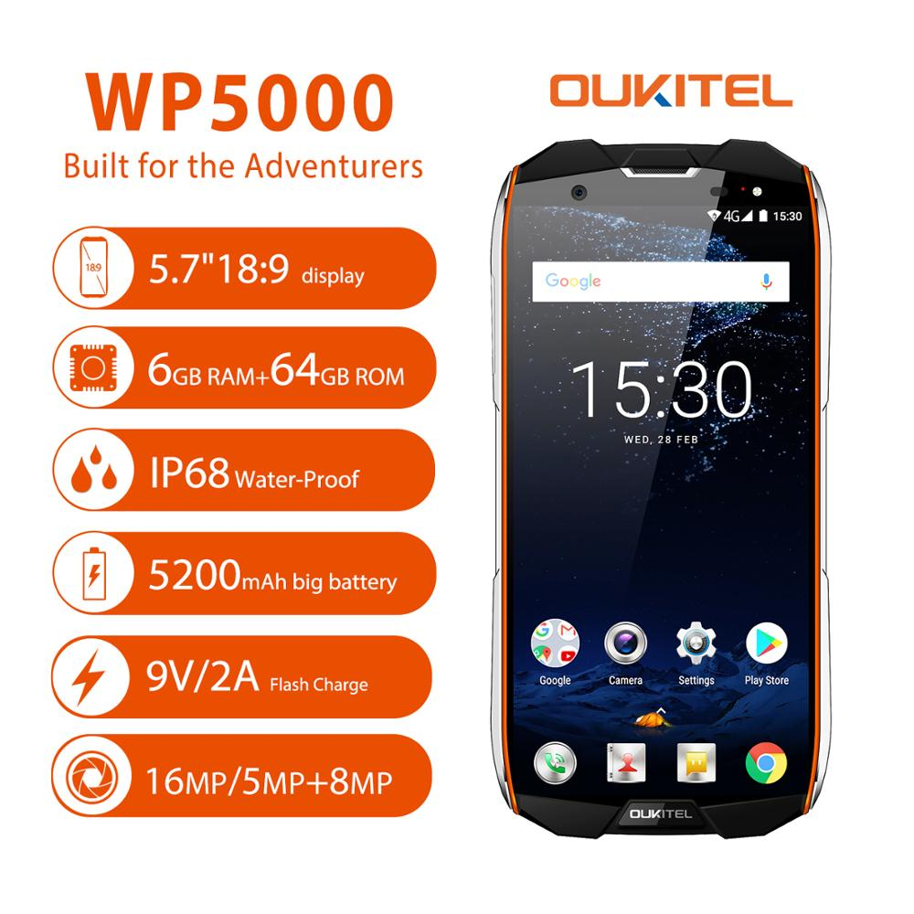<font><b>OUKITEL</b></font> <font><b>WP5000</b></font> IP68 Waterproof Smartphone 5.7'' Helio P25 Octa Core 16.0MP <font><b>6GB</b></font> RAM <font><b>64GB</b></font> ROM 5200mAh 9V/2A Quick Charge OTG Phone image