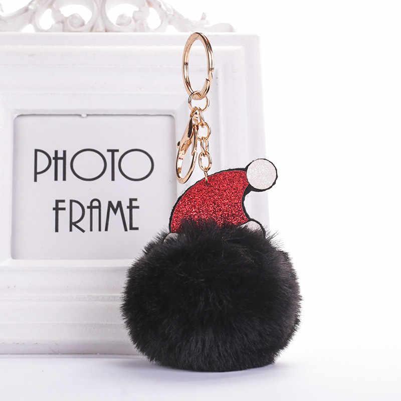 Bonito Bola de Cabelo chapéu de Natal Encantos Chaveiro Para Mulheres Meninas Moda Jóias Presentes Da Festa de Bolsa Pingente de Pelúcia Chaveiro Carro