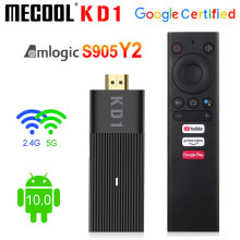 Mecool global kd1 smart tv vara amlogic s905y2 caixa de tv android 10 2gb 16gb google certificado 1080p 4k 2.4g & 5g wifi bt tv dongle
