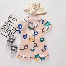 Baby Pajamas Set Summer Silk Satin Pajamas Boys Girls Bear Print Short Sleeve Blouse Tops+Shorts Two Piece Set Infant Sleepwear