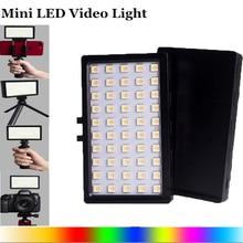 Ultra Bright Diammable RGB LED Video Light Fill Light 3200K 5600K DSLR Photography Lighting with Mini Tripod Phone Mount Kit